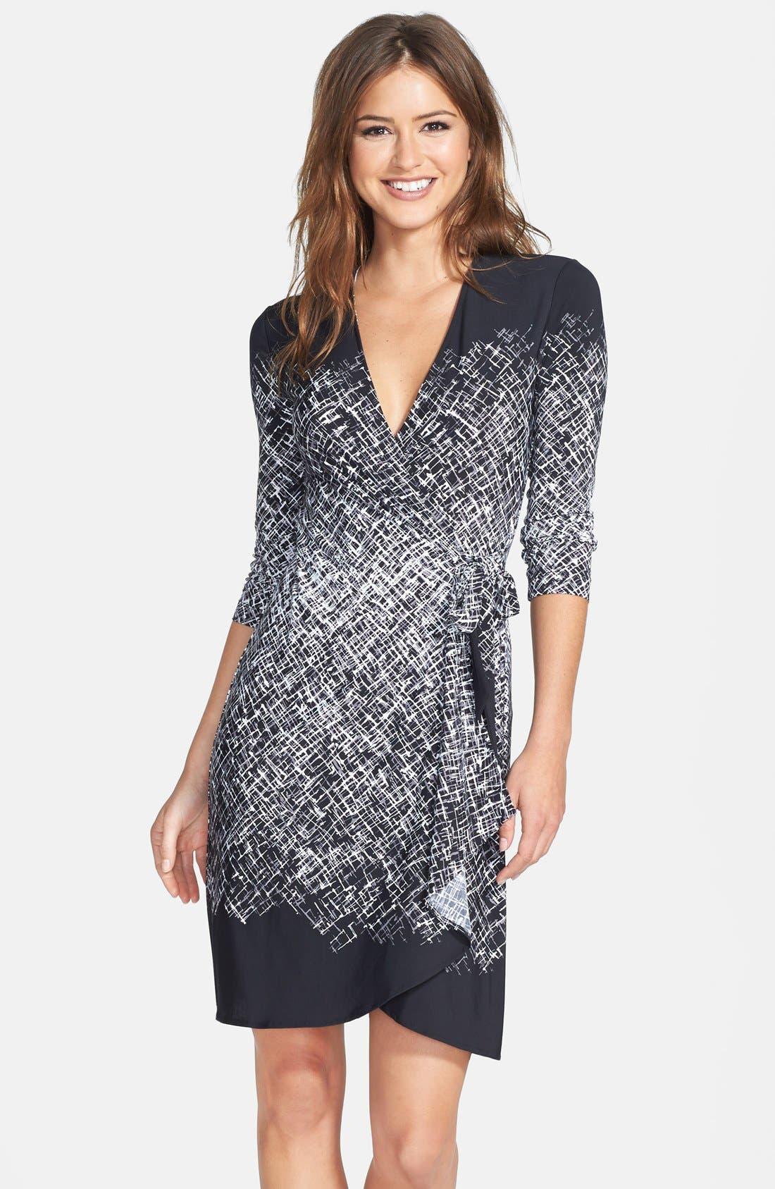 Main Image - BCBGMAXAZRIA Engineered Print Matte Jersey Wrap Dress
