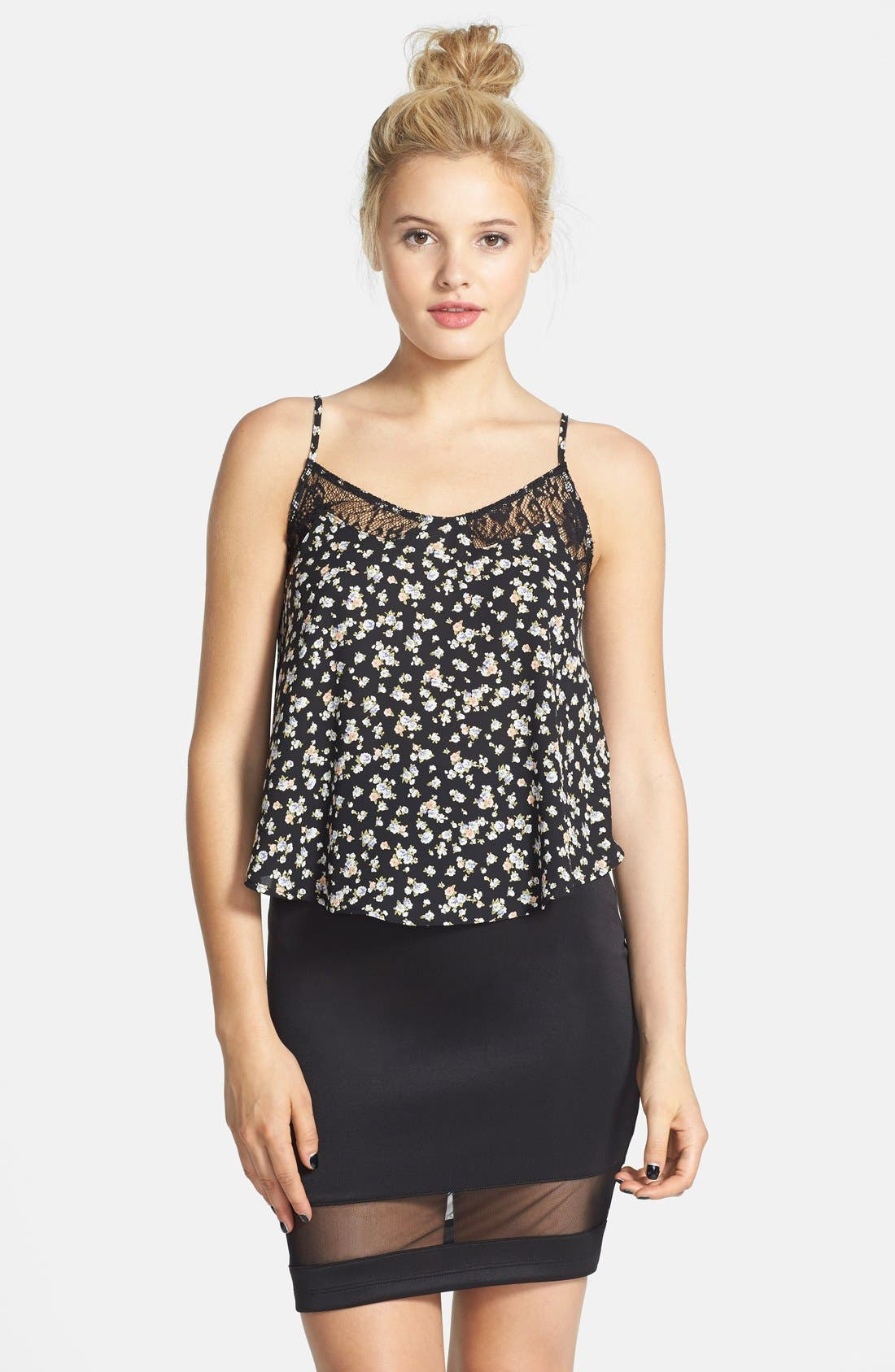 Main Image - Lush Mesh Panel Body-Con Skirt (Juniors) (Online Only)