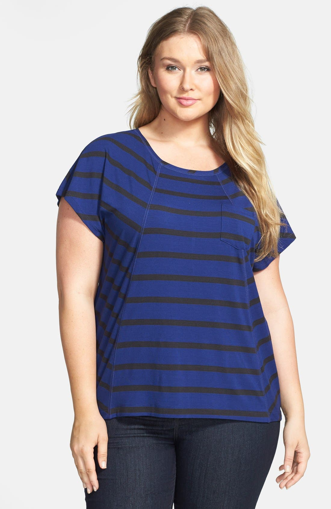 Alternate Image 1 Selected - Sejour Stripe Block Tee (Plus Size)