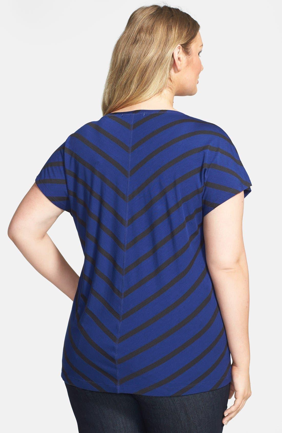 Alternate Image 2  - Sejour Stripe Block Tee (Plus Size)