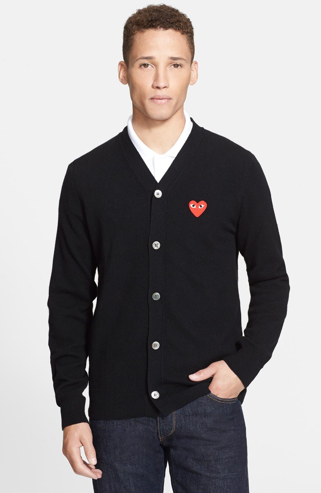 COMME DES GARÇONS PLAY Wool Cardigan with Heart Appliqué