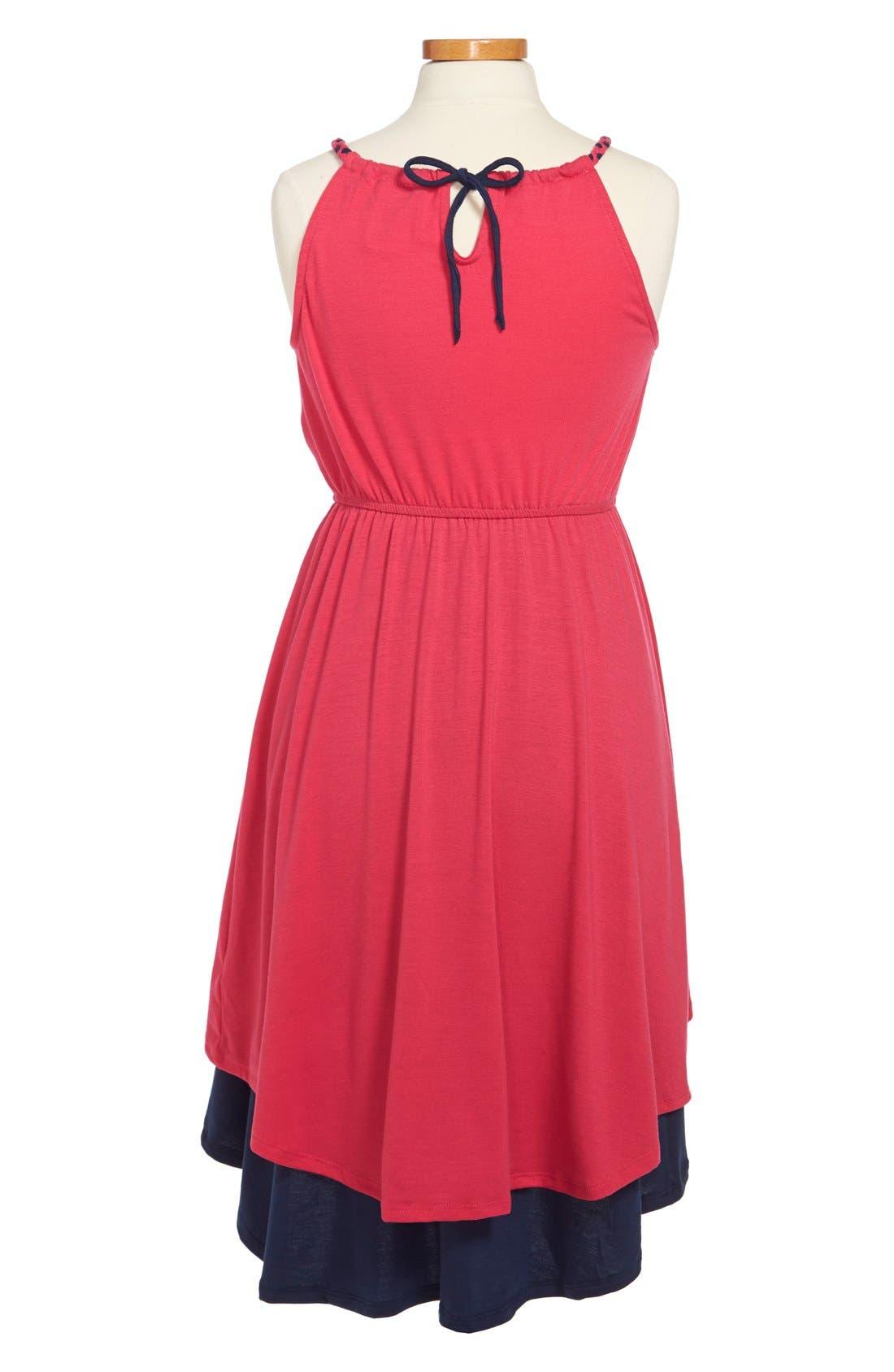Alternate Image 2  - Paper Doll Colorblock Tulip Skirt Dress (Little Girls & Big Girls)