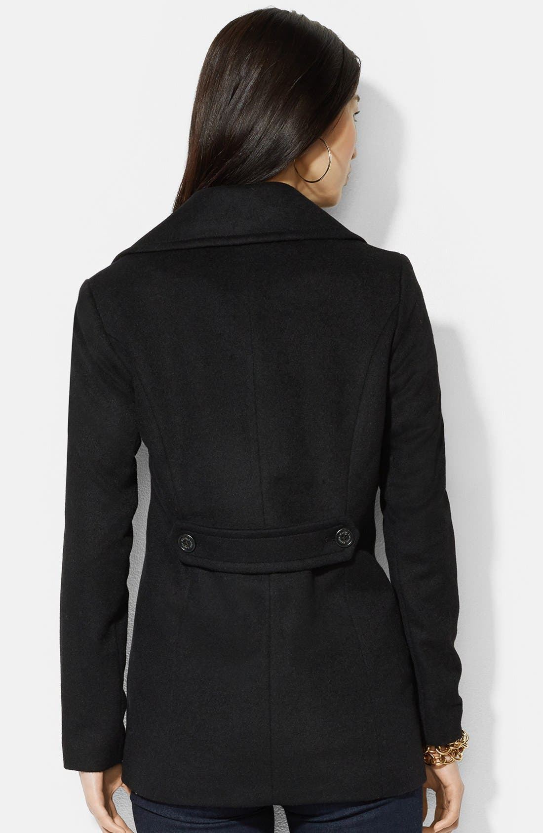 Alternate Image 2  - Lauren Ralph Lauren Double Breasted Wool Blend Peacoat (Online Only)