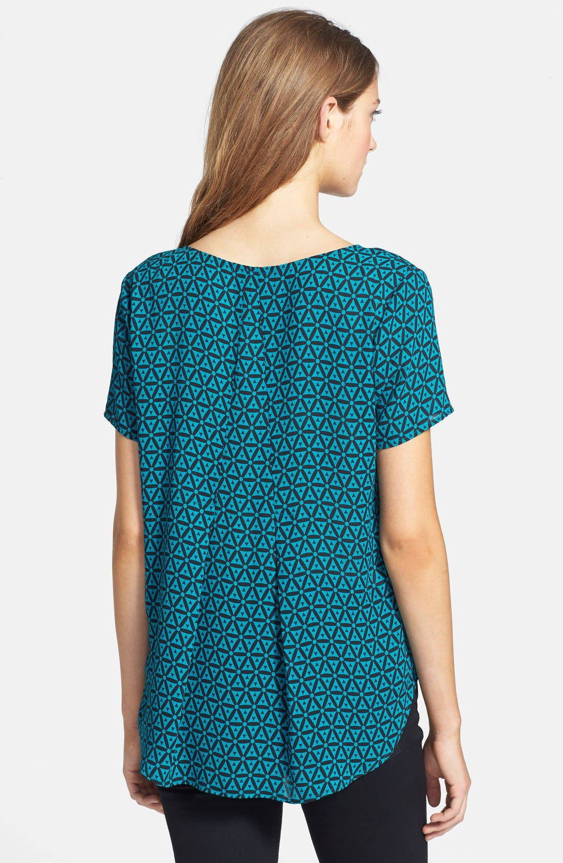 Alternate Image 2  - Pleione Pleat Back Woven Print Top (Regular & Petite)