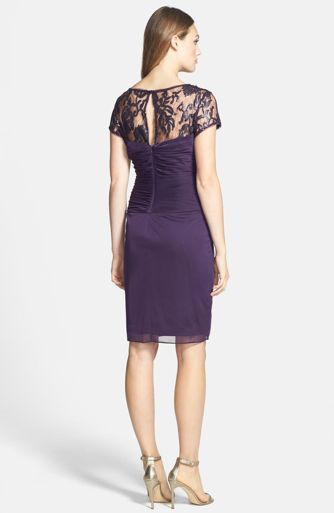 Alternate Image 2  - Adrianna Papell Sequin Lace & Tulle Sheath Dress