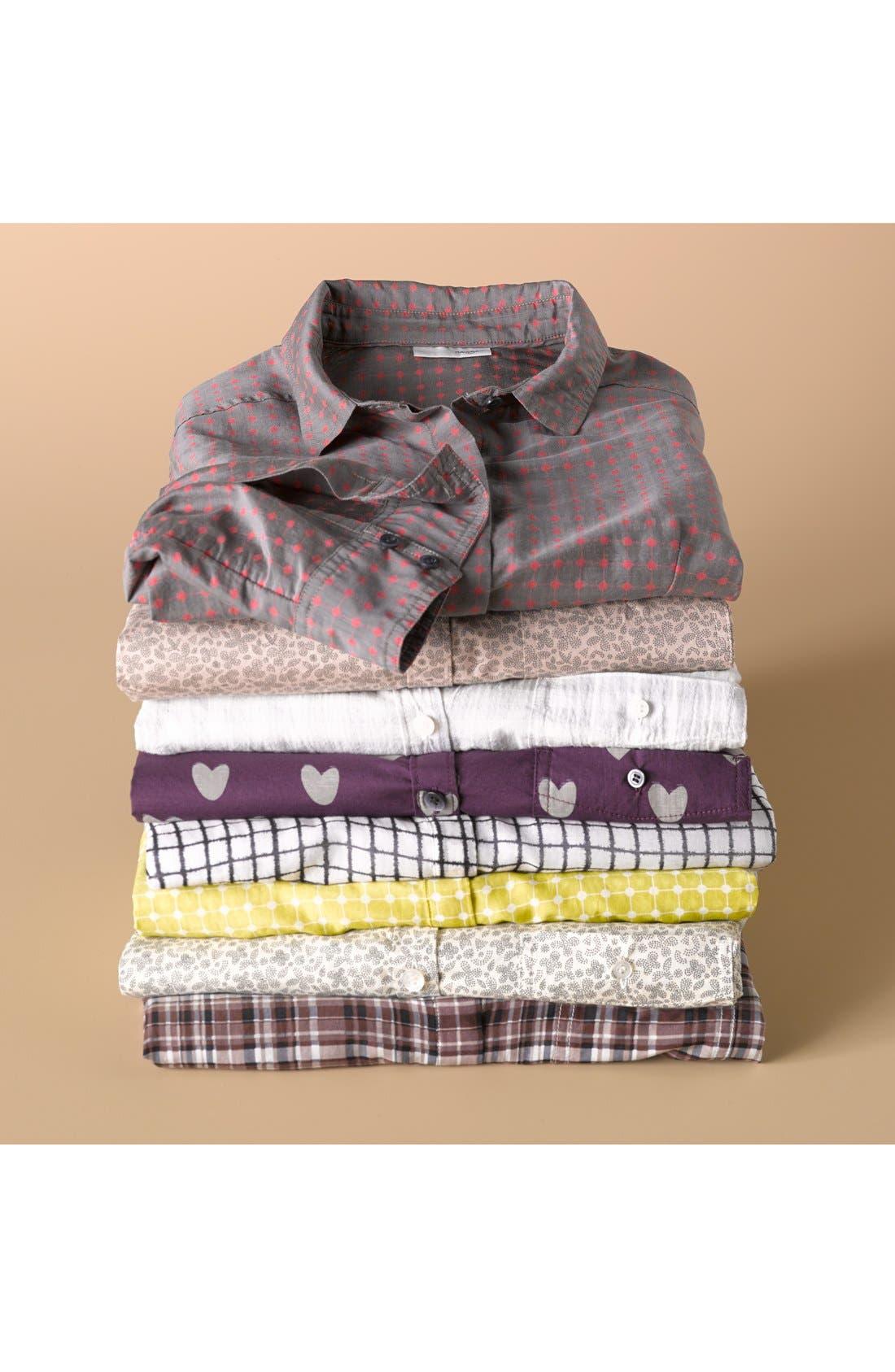 Alternate Image 8  - Halogen® Print Cotton & Silk Shirt (Regular & Petite)