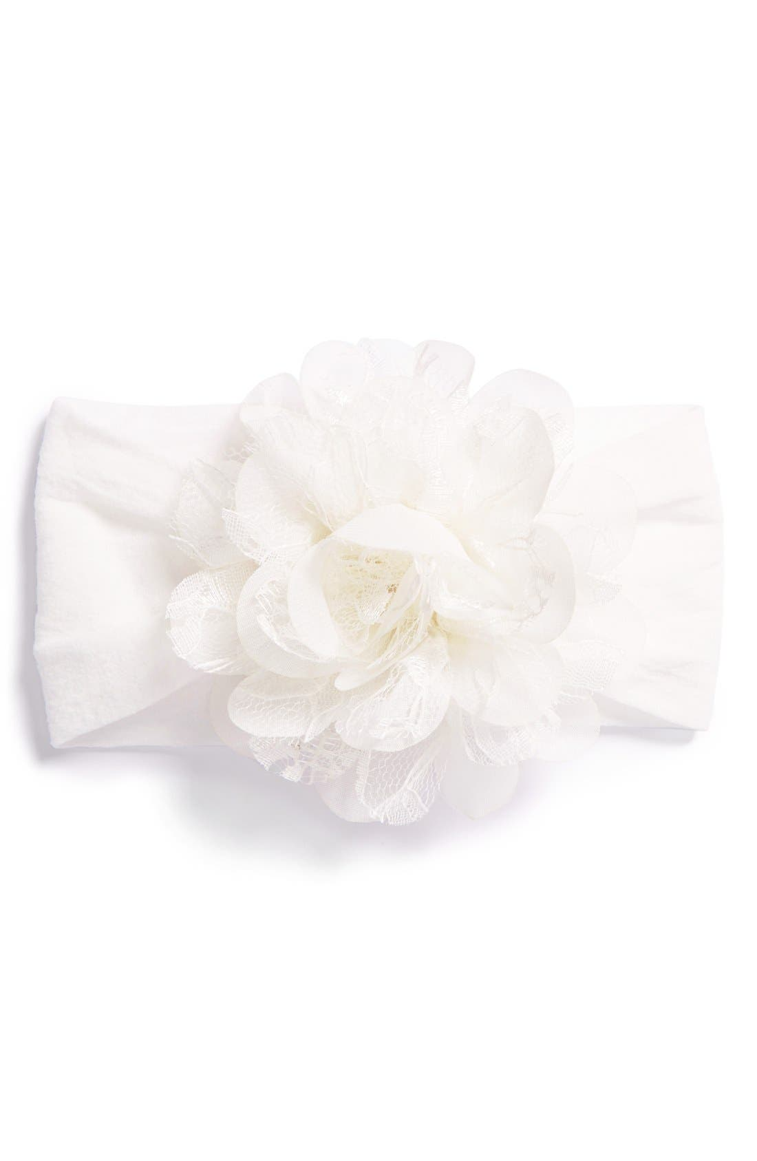 Main Image - Baby Bling Lace & Chiffon Flower Headband (Baby Girls)