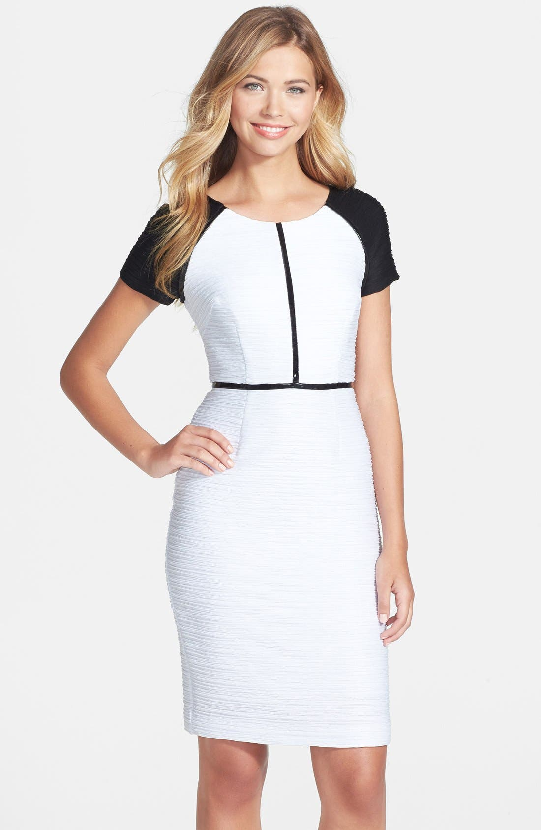 Main Image - Nue by Shari Colorblock Ottoman Knit Sheath Dress
