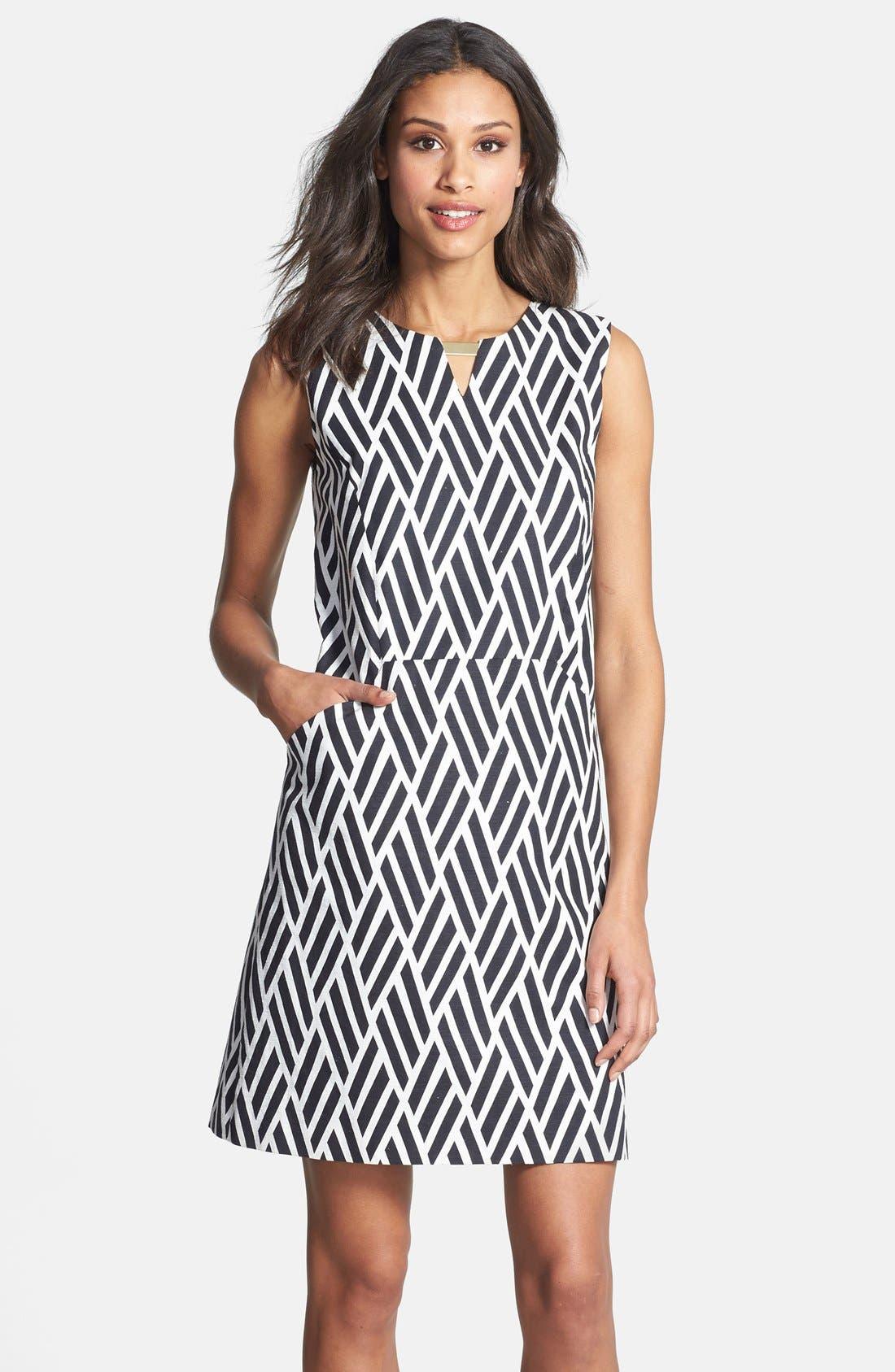Alternate Image 1 Selected - Tahari Jacquard Cotton Blend Shift Dress