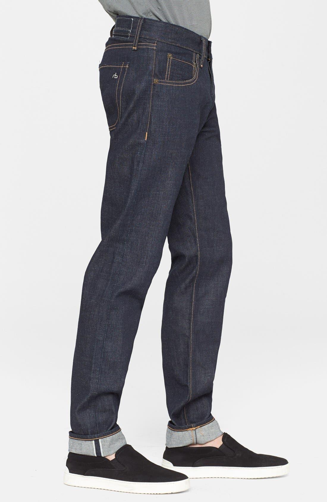 Alternate Image 3  - rag & bone Standard Issue Fit 2 Slim Fit Raw Selvedge Jeans (Indigo)