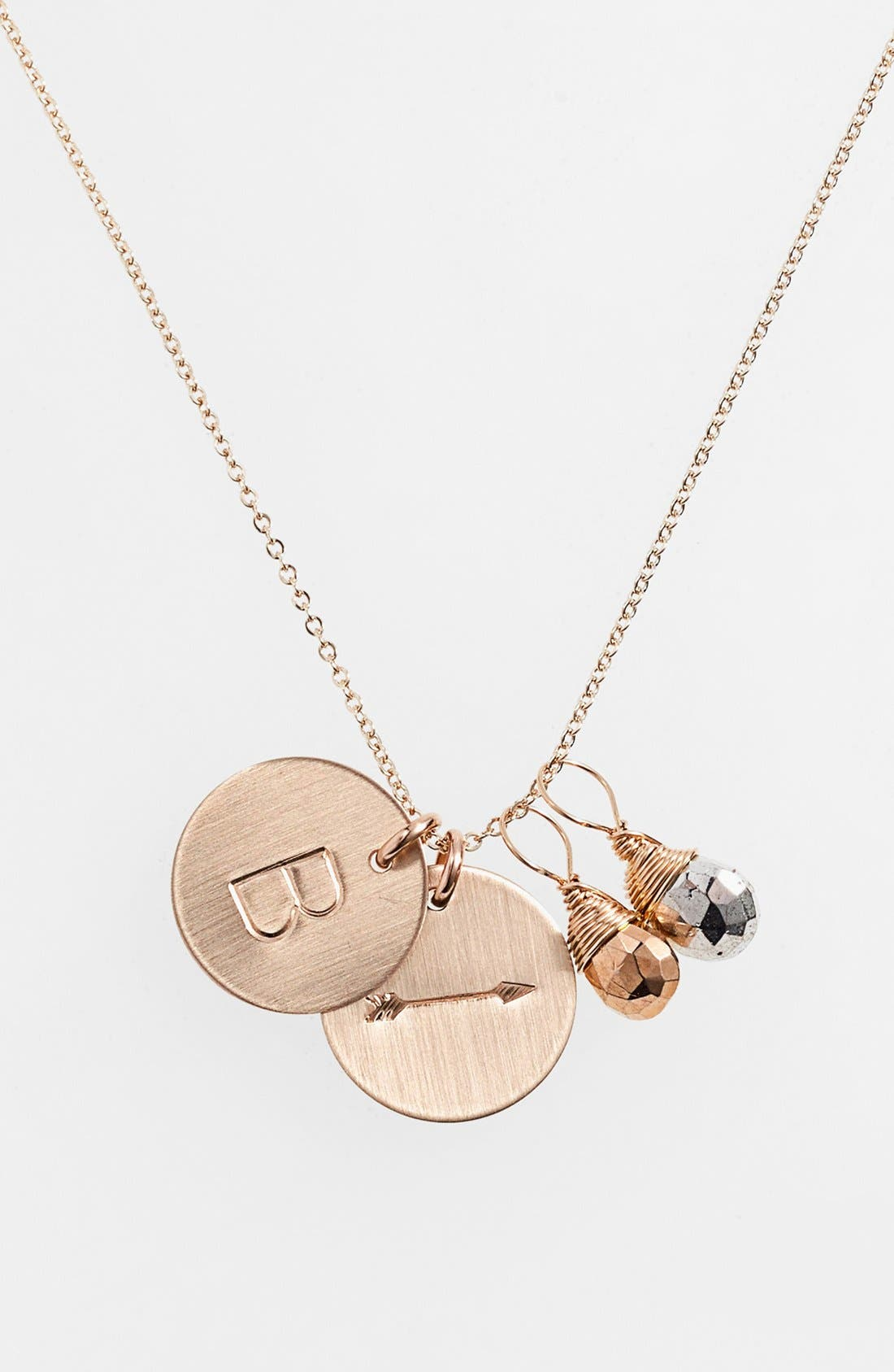 Main Image - Nashelle Pyrite Initial & Arrow 14k-Gold Fill Disc Necklace