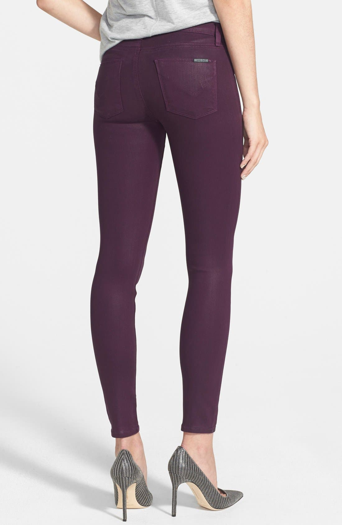 Alternate Image 2  - Hudson Jeans 'Nico' Mid Rise Skinny Stretch Jeans (Mulberry Wax)