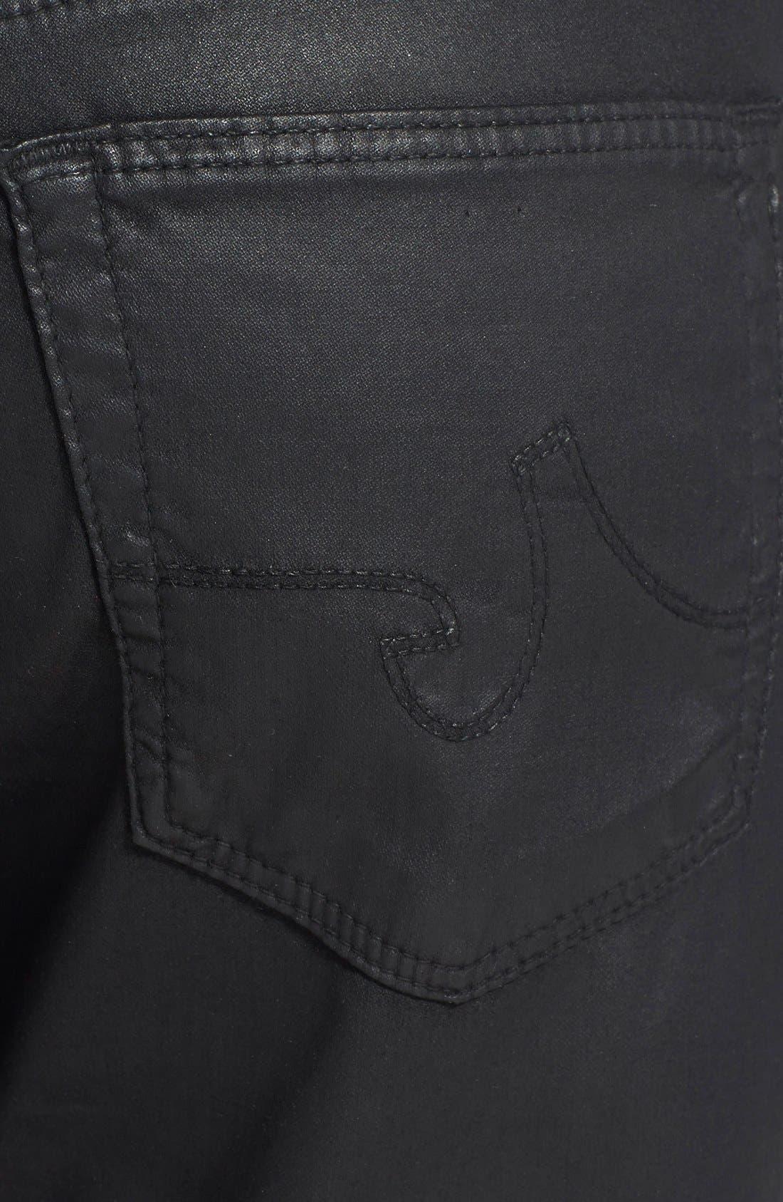 Alternate Image 3  - AG 'Leatherette Beau' Coated Boyfriend Skinny Jeans (Leatherette Black)