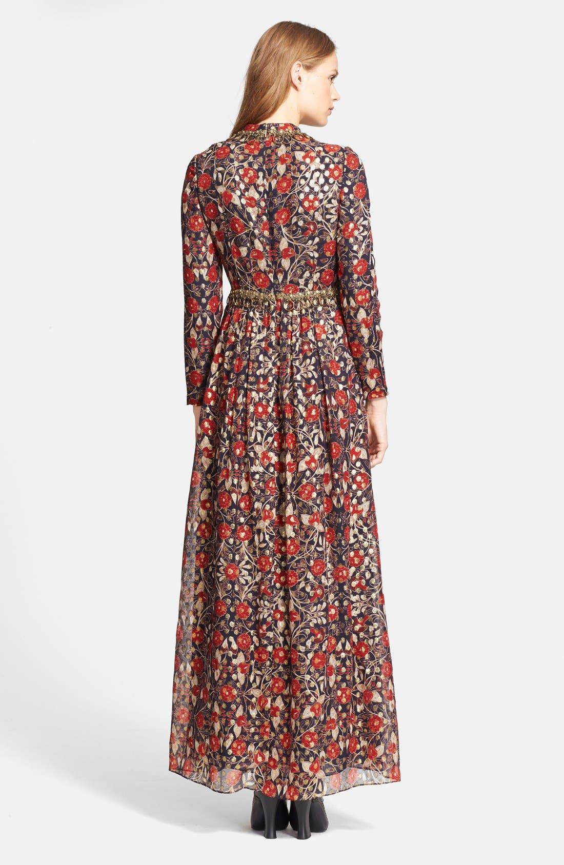 'Leane' Floral Print Embellished Gown,                             Alternate thumbnail 2, color,                             Arras