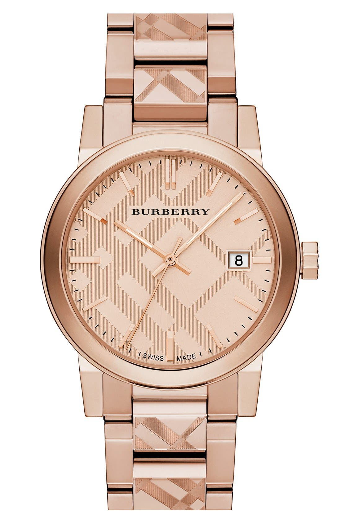 Alternate Image 1 Selected - Burberry Check Stamped Bracelet Watch, 38mm