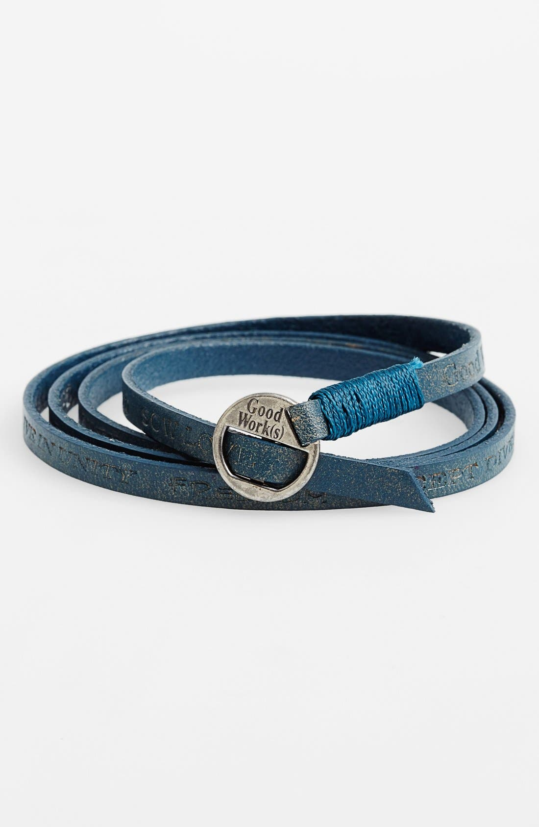 Alternate Image 1 Selected - Good Work(s) Make A Difference 'Courage' Leather Wrap Bracelet