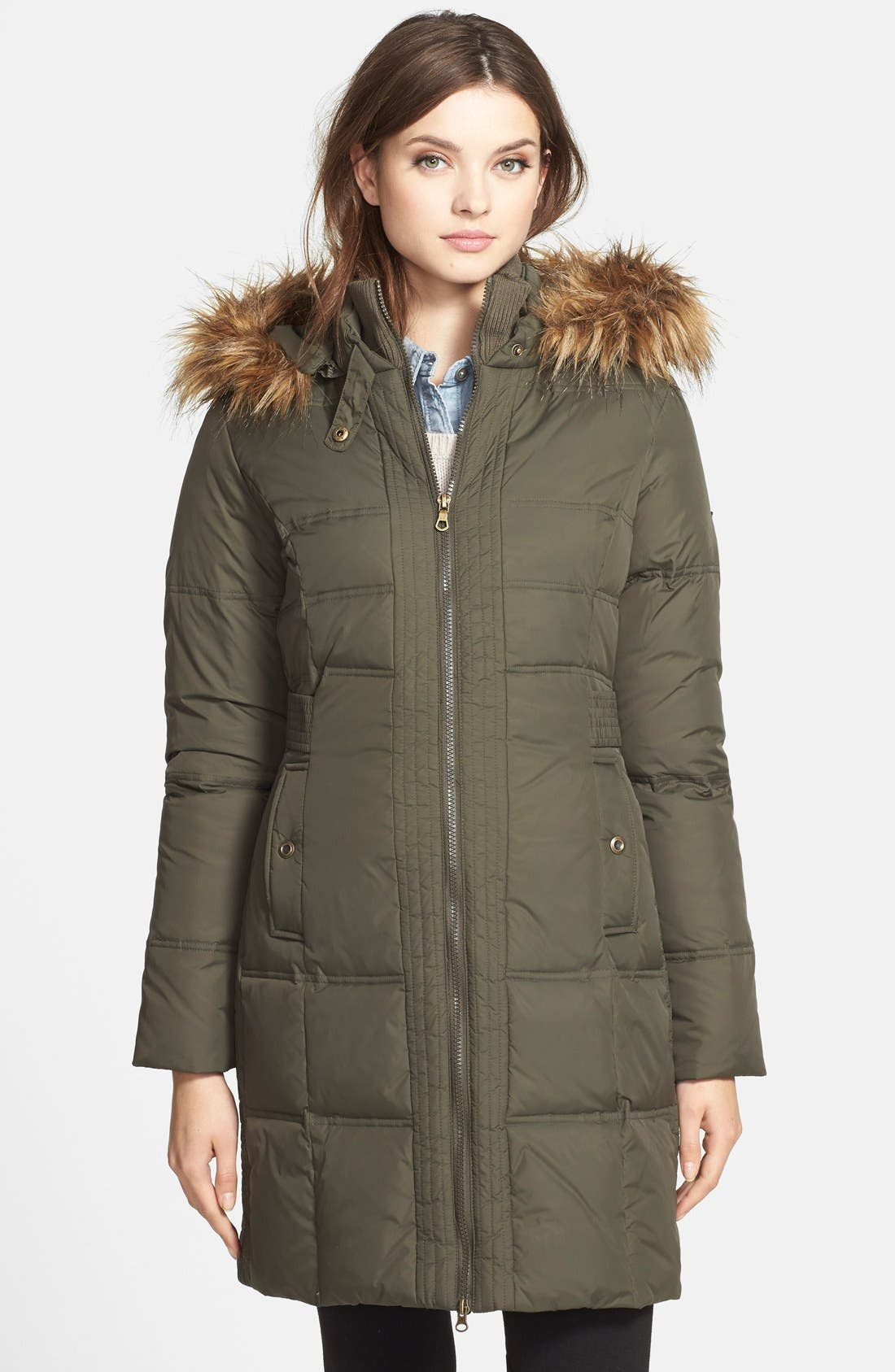 Alternate Image 1 Selected - Larry Levine Faux Fur Trim Quilted Coat with Removable Hood
