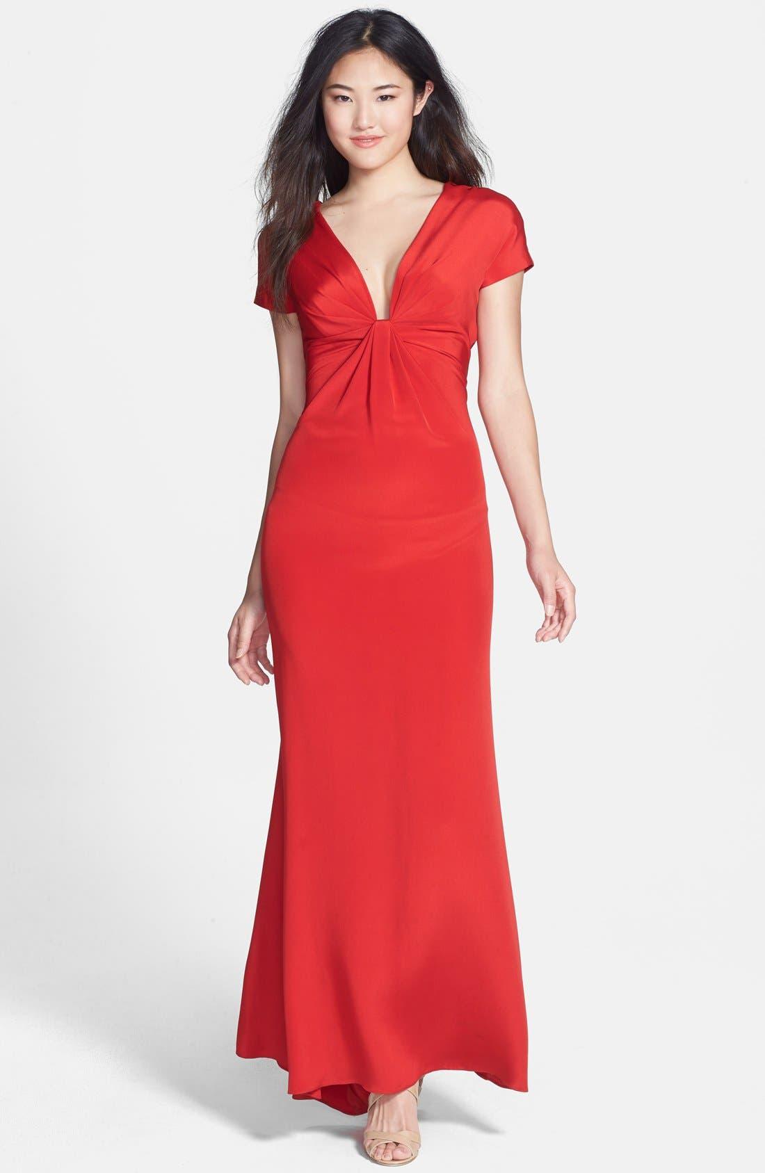 Main Image - Jill Jill Stuart Open Back Deep V-Neck Crepe Gown