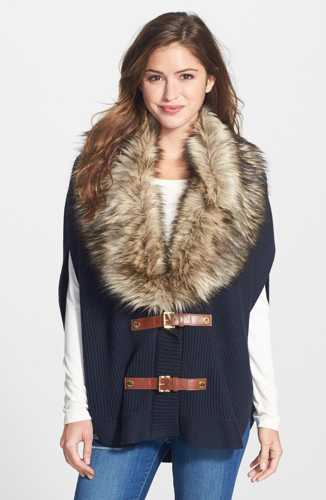 Main Image - MICHAEL Michael Kors Faux Fur Trim Buckle Poncho (Regular & Petite)