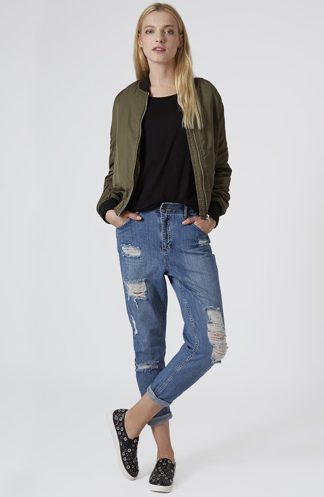 Alternate Image 4  - Topshop Moto Reclaim To Wear High Waist Tapered Jeans (Mid Denim)