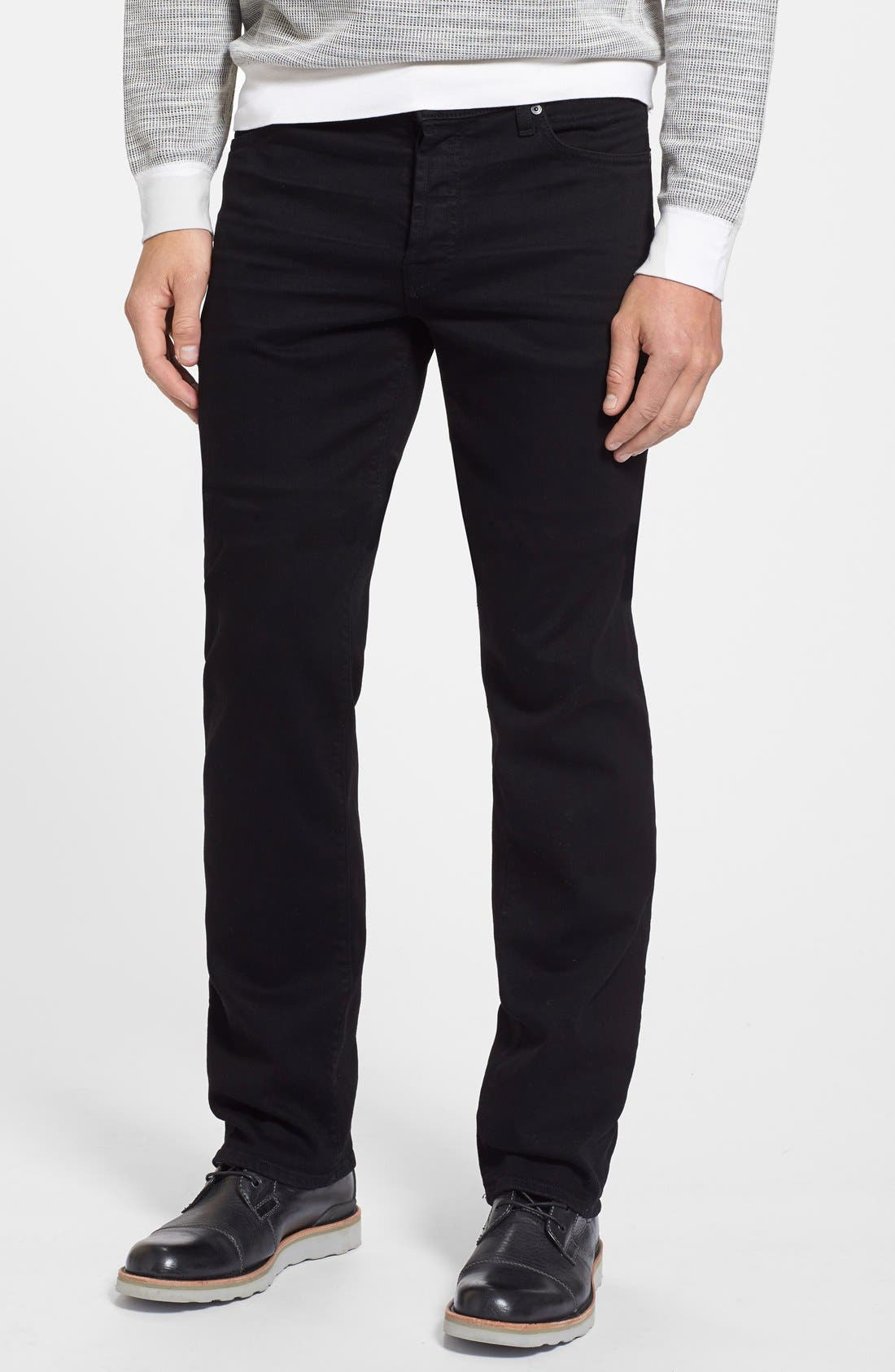 Main Image - 7 For All Mankind® The Standard - Luxe Performance Straight Leg Jeans (Nightshade Black)