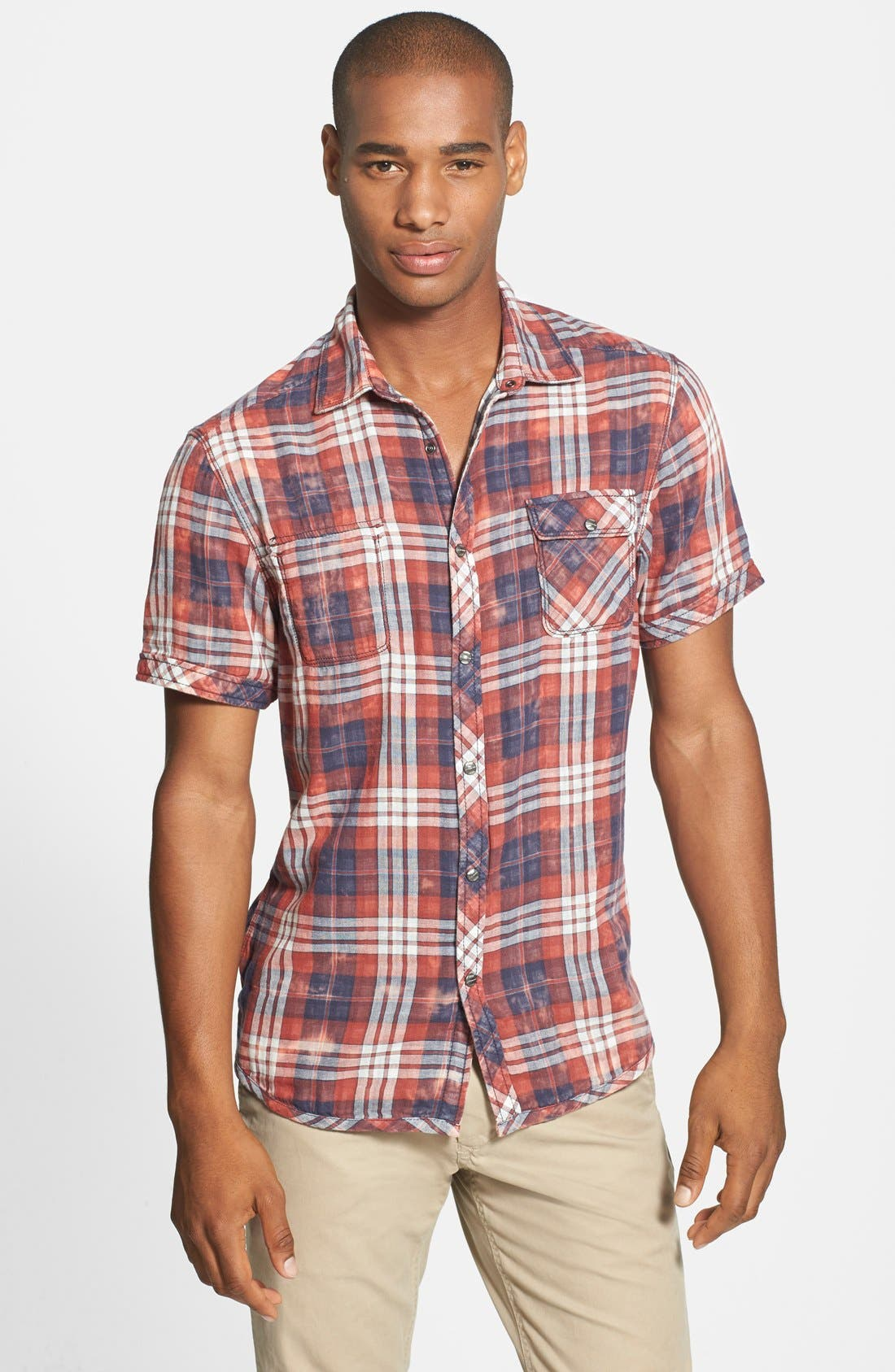 Alternate Image 1 Selected - Jeremiah 'Ohio' Short Sleeve Reversible Plaid & Gingham Shirt