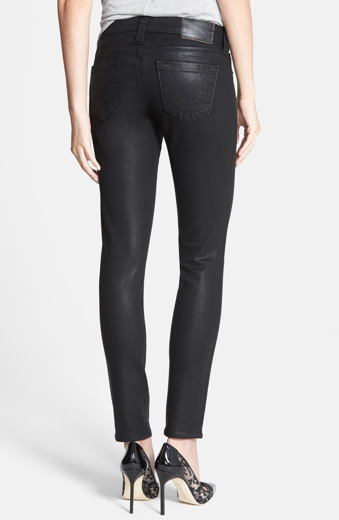 Alternate Image 2  - True Religion Brand Jeans 'Halle - Super Vixen' Coated Skinny Jeans (Black)