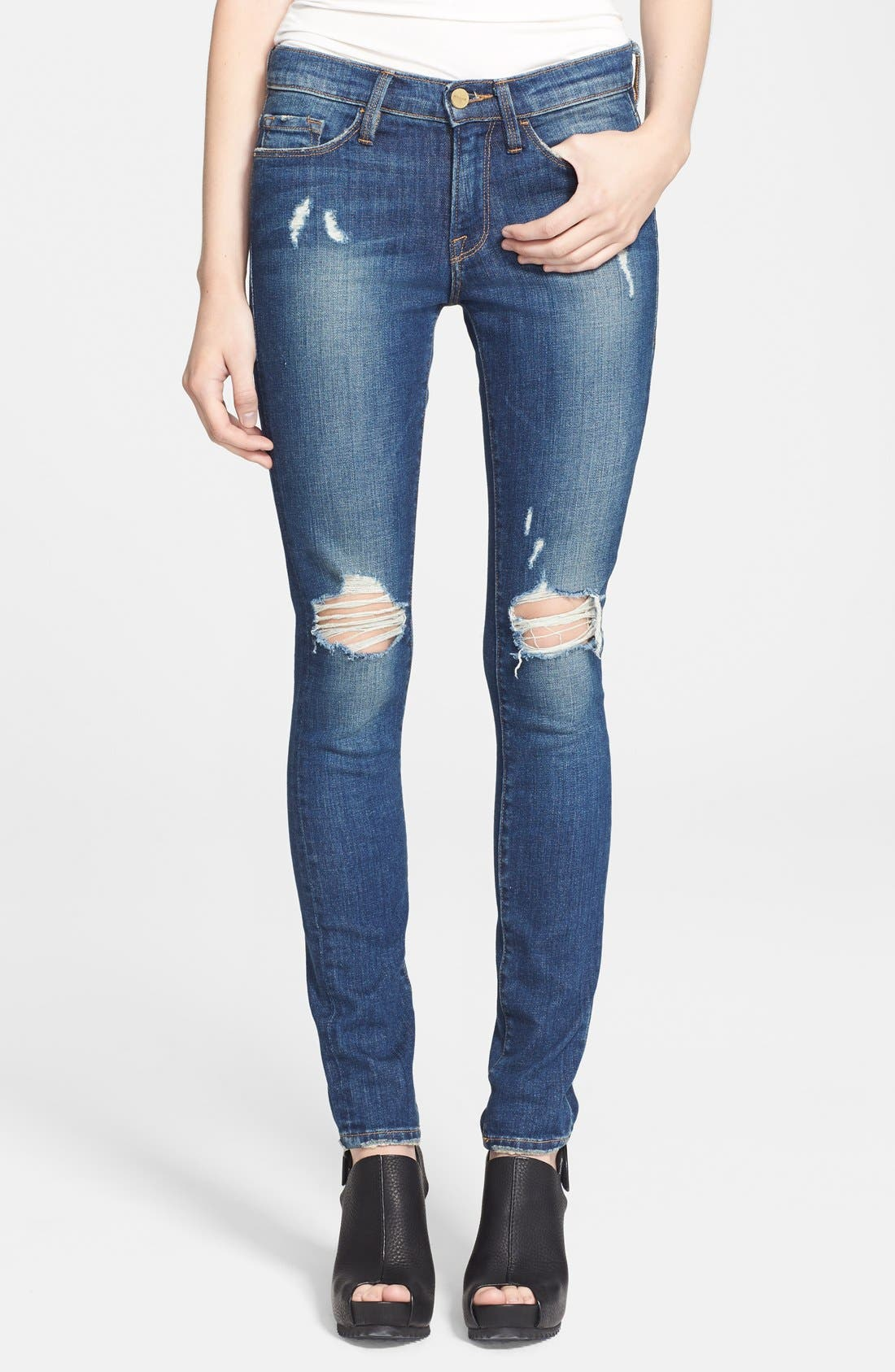 Alternate Image 1 Selected - Frame Denim 'Le Skinny de Jeanne' Destroyed Jeans (Walgrove)