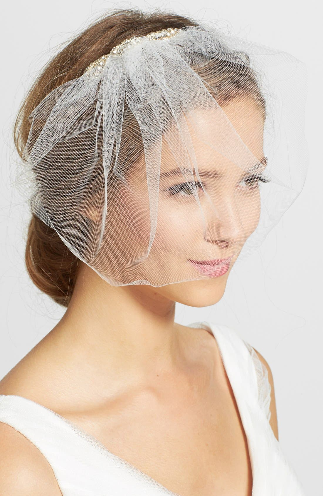 Main Image - J-Picone Crystal Comb Tulle Blusher/Birdcage Veil