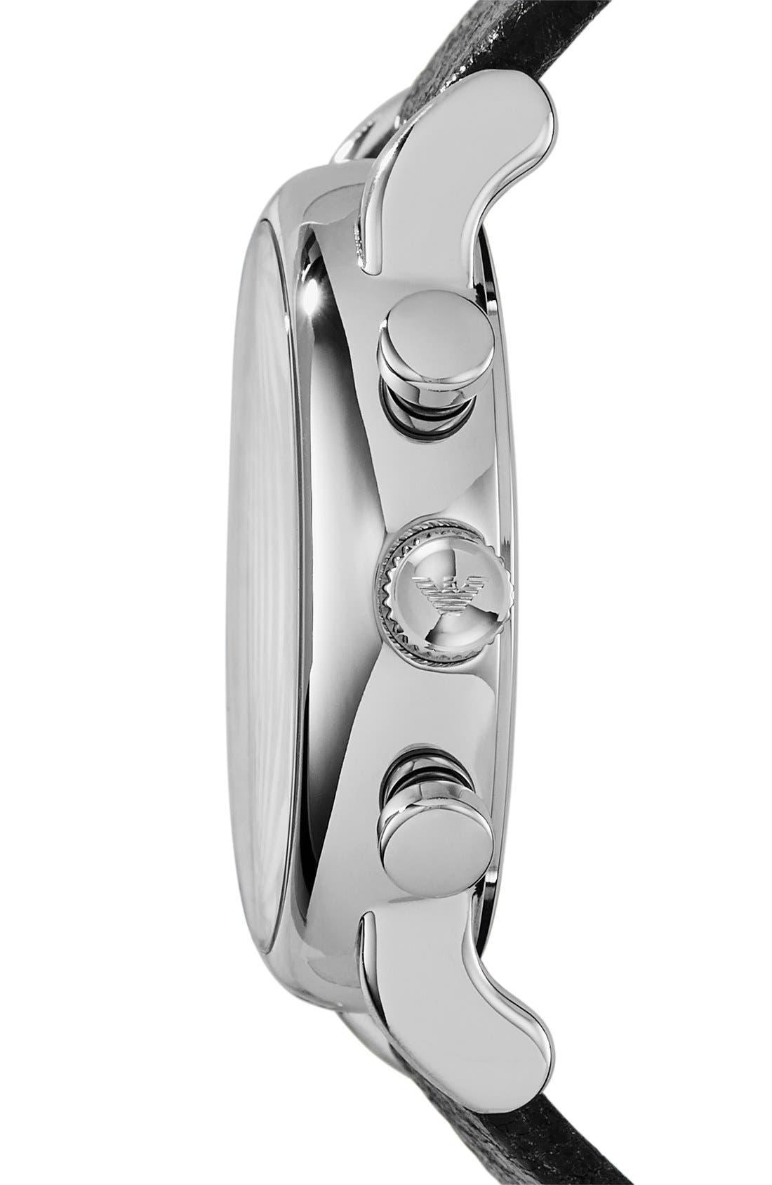 Alternate Image 3  - Emporio Armani Chronograph Leather Strap Watch, 41mm