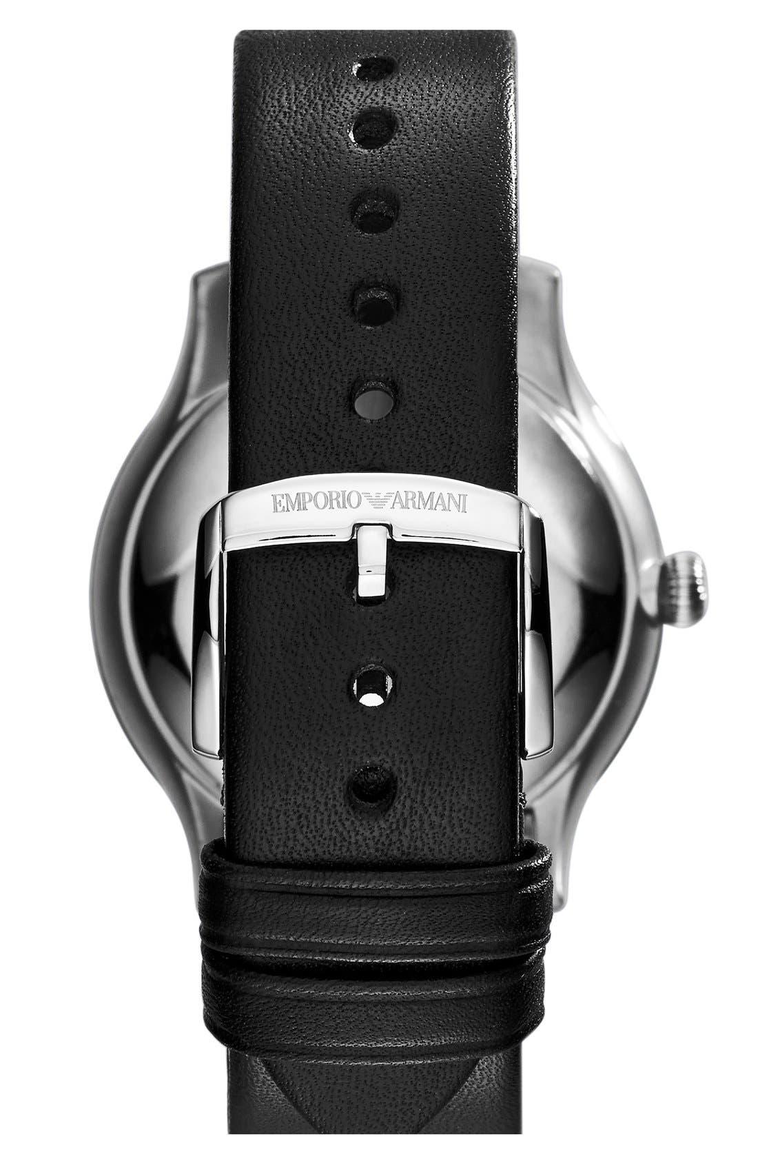 Alternate Image 2  - Emporio Armani Textured Leather Strap Watch, 38mm