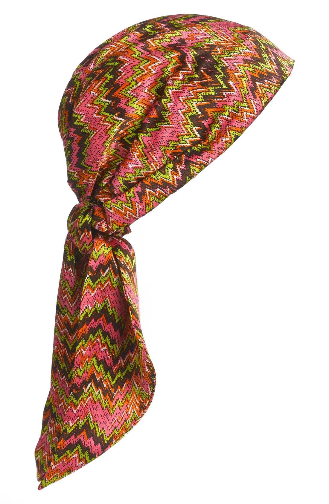 'It's a Wrap' Silk Head Wrap,                         Main,                         color, Morocco Fuchsia