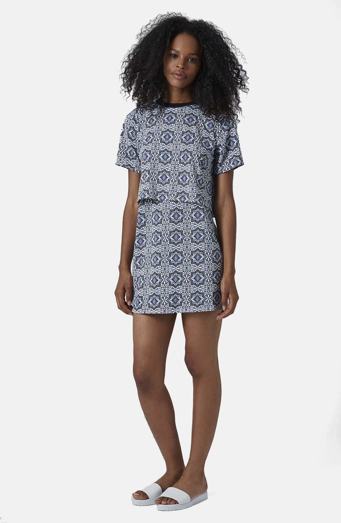 Alternate Image 5  - Topshop Tile Print Crop Overlay Dress