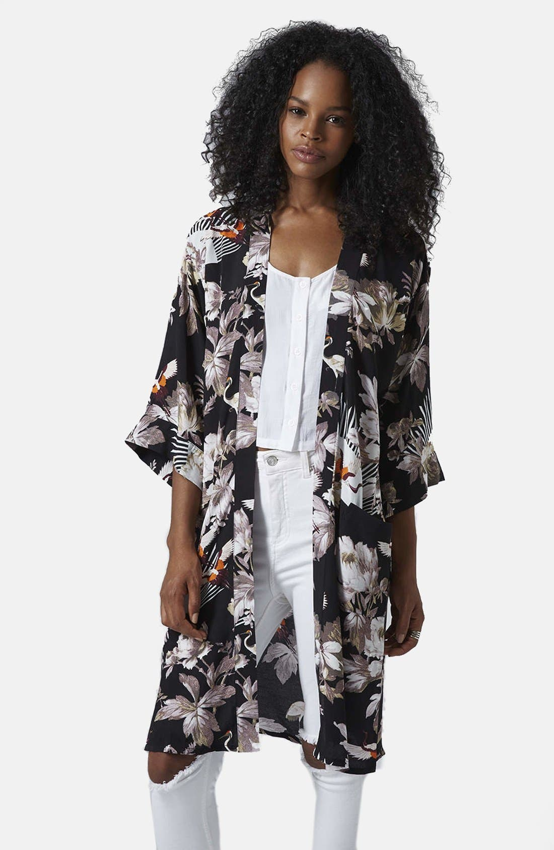 Alternate Image 1 Selected - Topshop Fantasy Floral Kimono