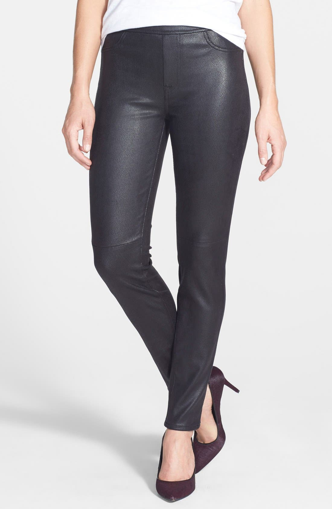 Faux Leather Ponte Skinny Jeans,                             Main thumbnail 1, color,                             Black