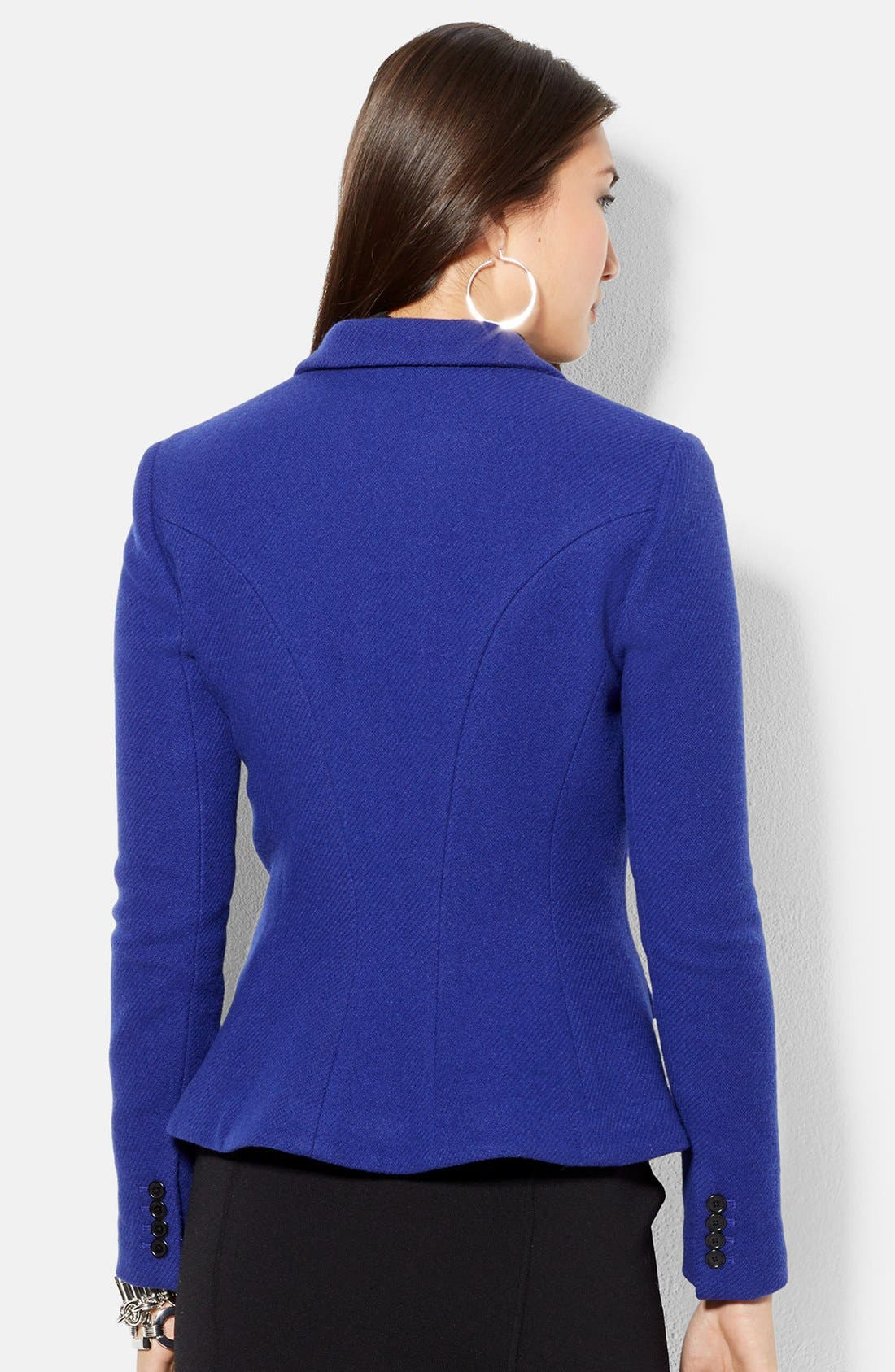Fitted Wool Blend Jacket,                             Alternate thumbnail 2, color,                             Lapis