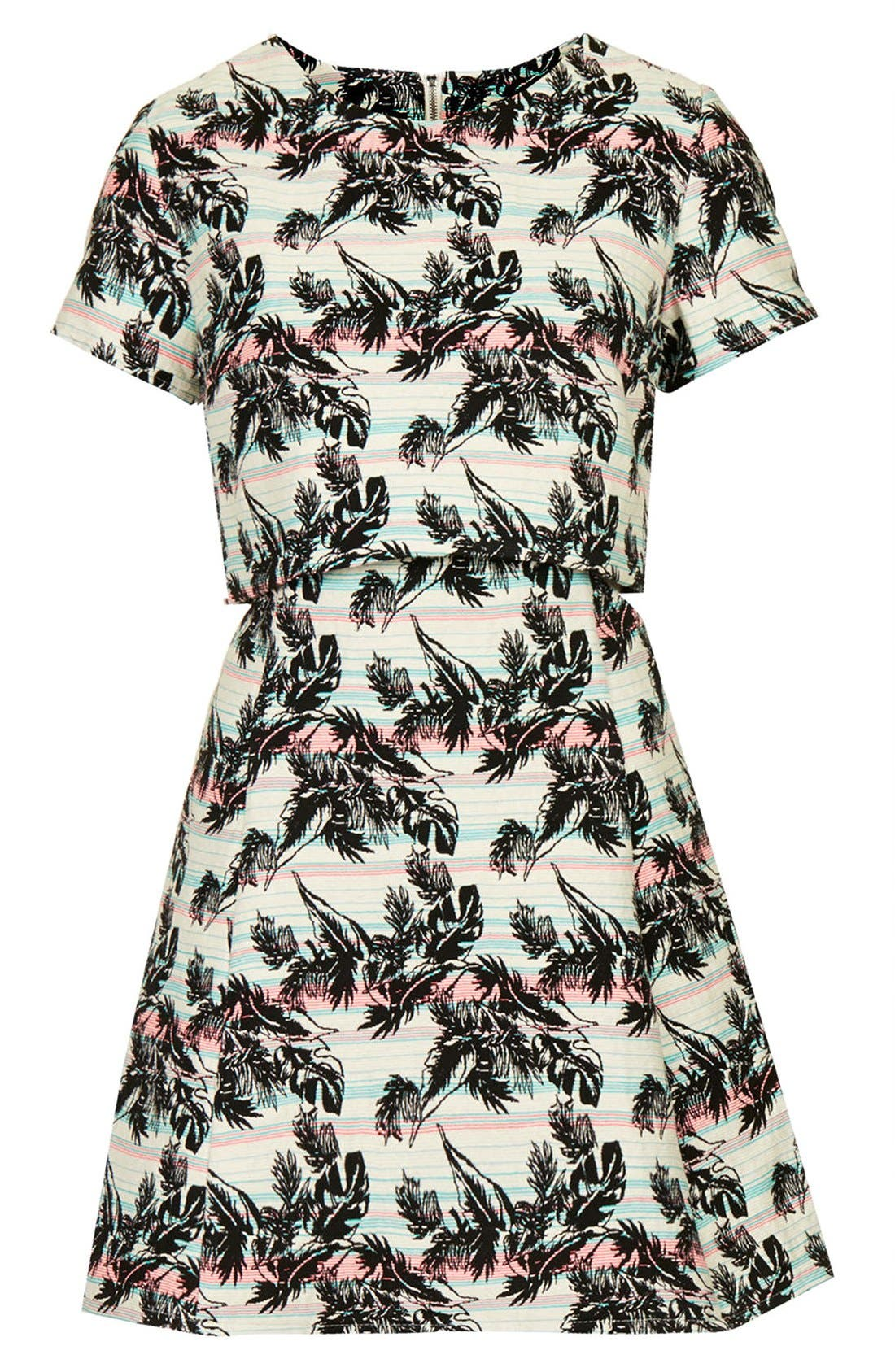 Alternate Image 3  - Topshop Leaf Print Crop Overlay Dress