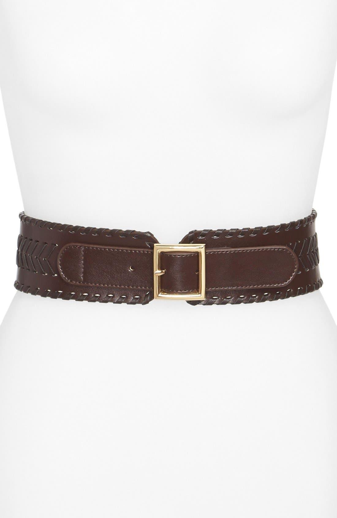 Chevron Whipstitch Belt,                         Main,                         color, Chocolate
