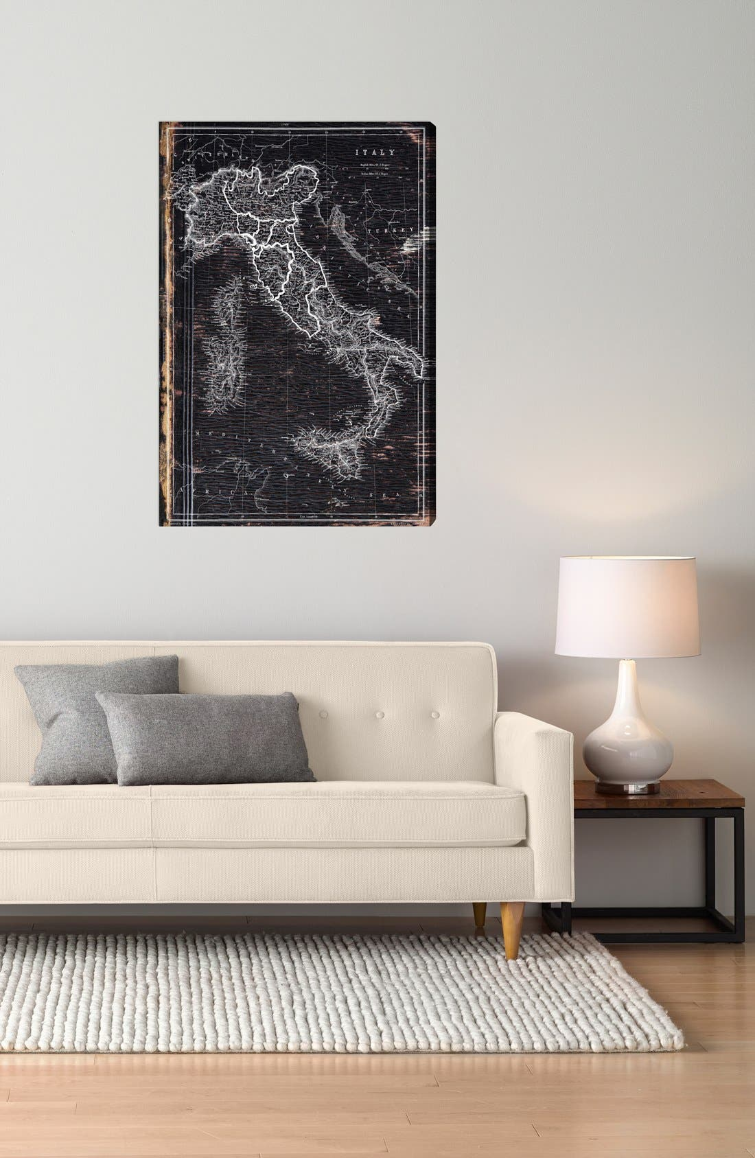 'Map of Italy 1873' Wall Art,                             Alternate thumbnail 2, color,                             Grey