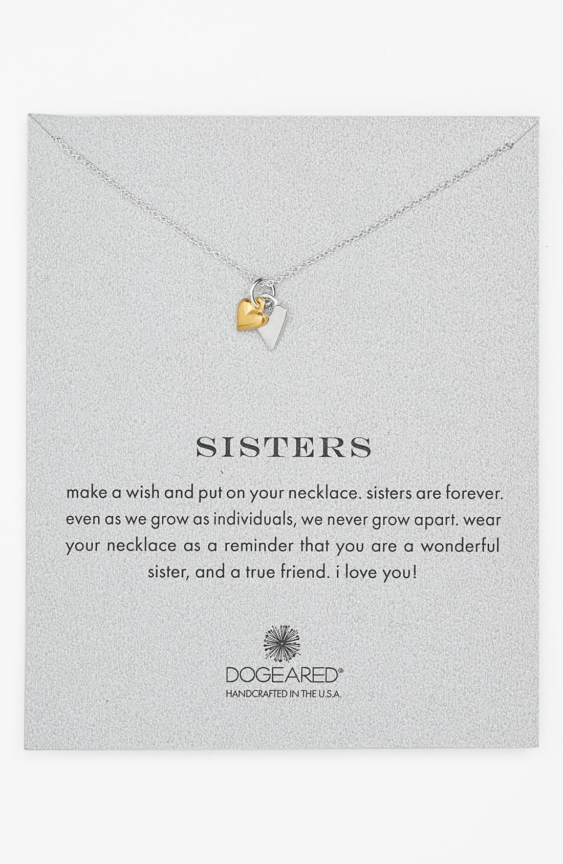Alternate Image 1 Selected - Dogeared 'Reminder - Sisters' Pendant Necklace