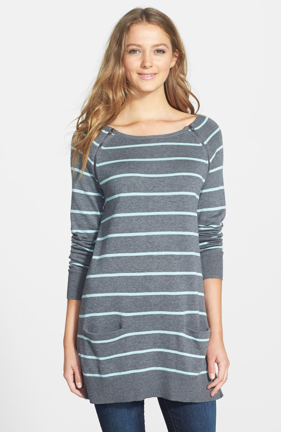 Main Image - Caslon® Zip Detail Raglan Sleeve Tunic (Regular & Petite)