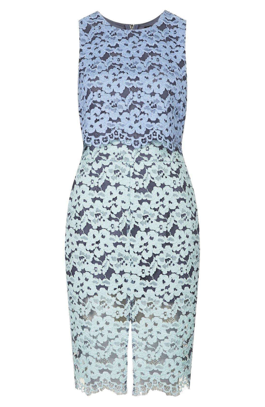 Alternate Image 3  - Topshop Two Tone Lace Midi Dress