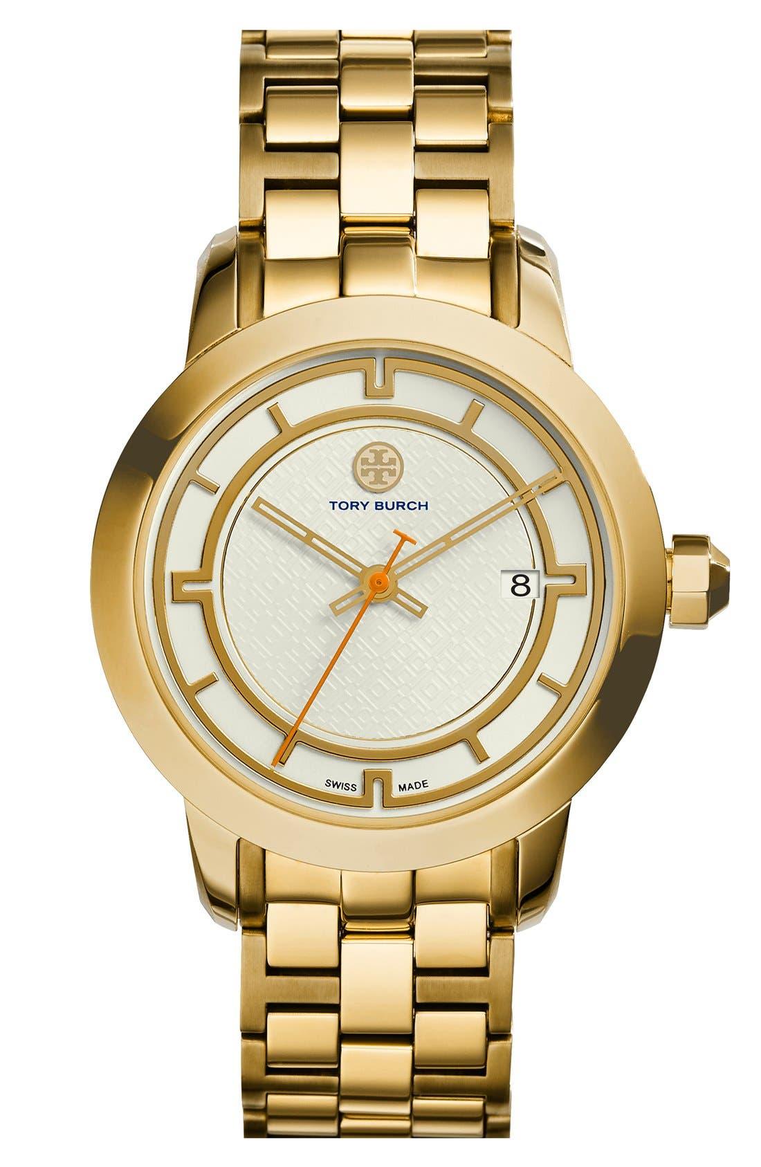 Main Image - Tory Burch 'Tory' Large Round Bracelet Watch, 37mm