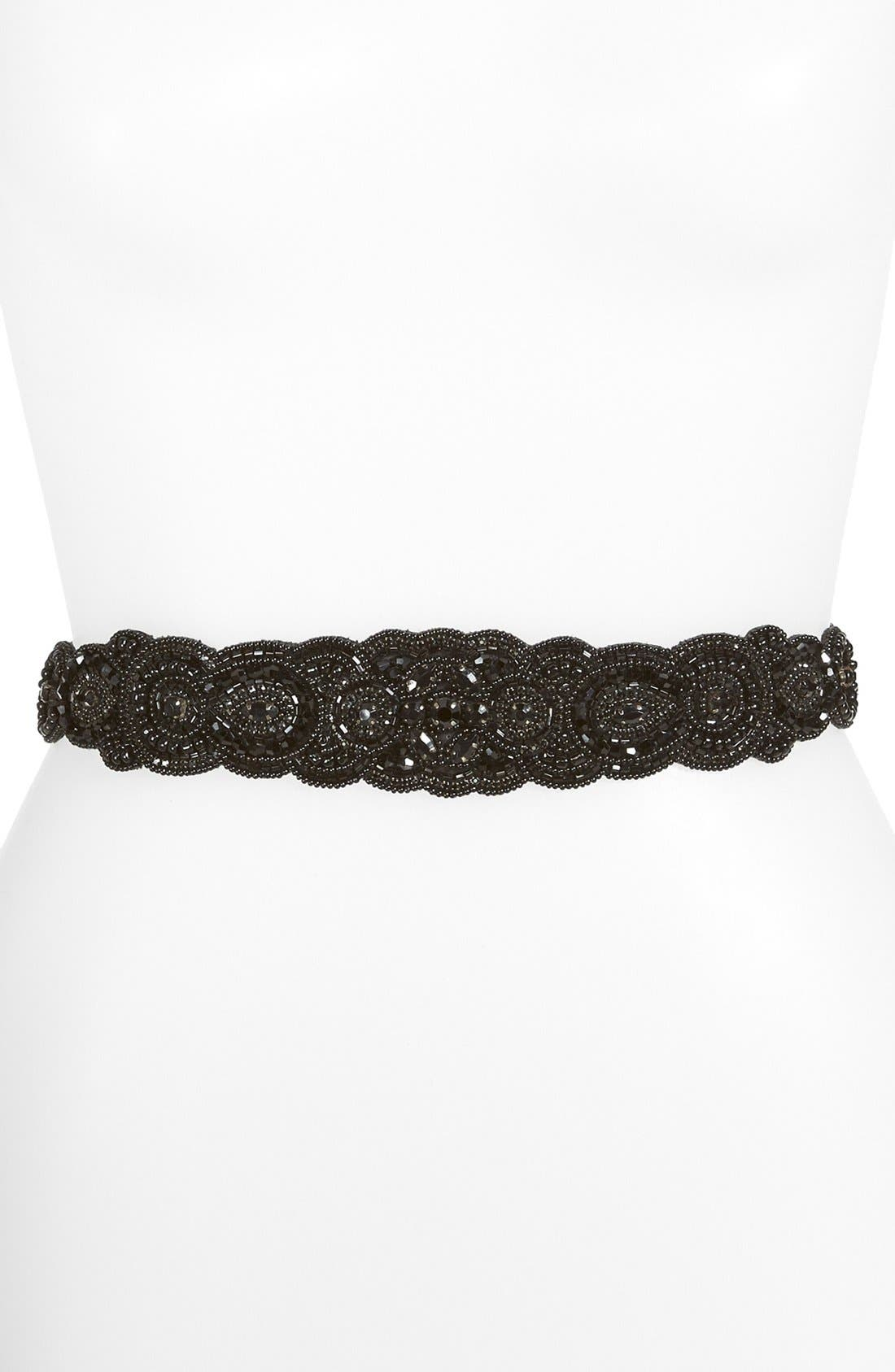 Main Image - Glint 'Arabesque' Beaded Stretch Belt