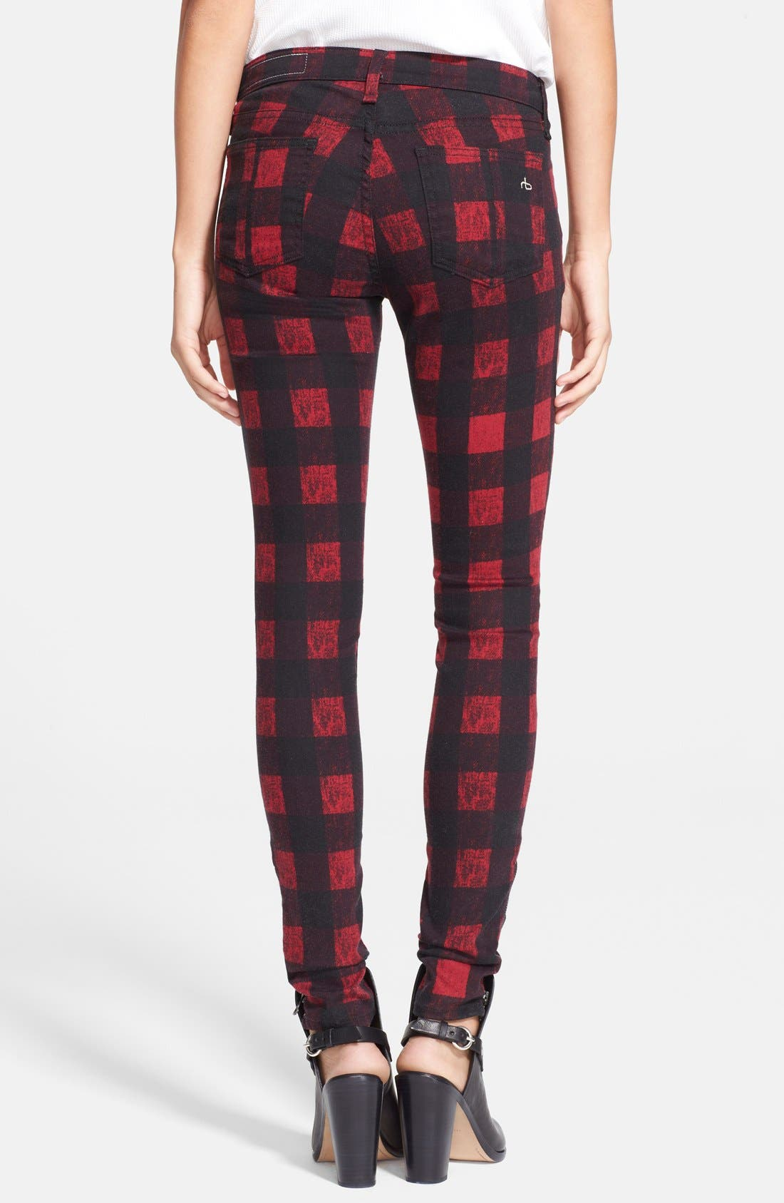 Alternate Image 2  - rag & bone/JEAN Zip Detail Print Denim Leggings (Red Buffalo)