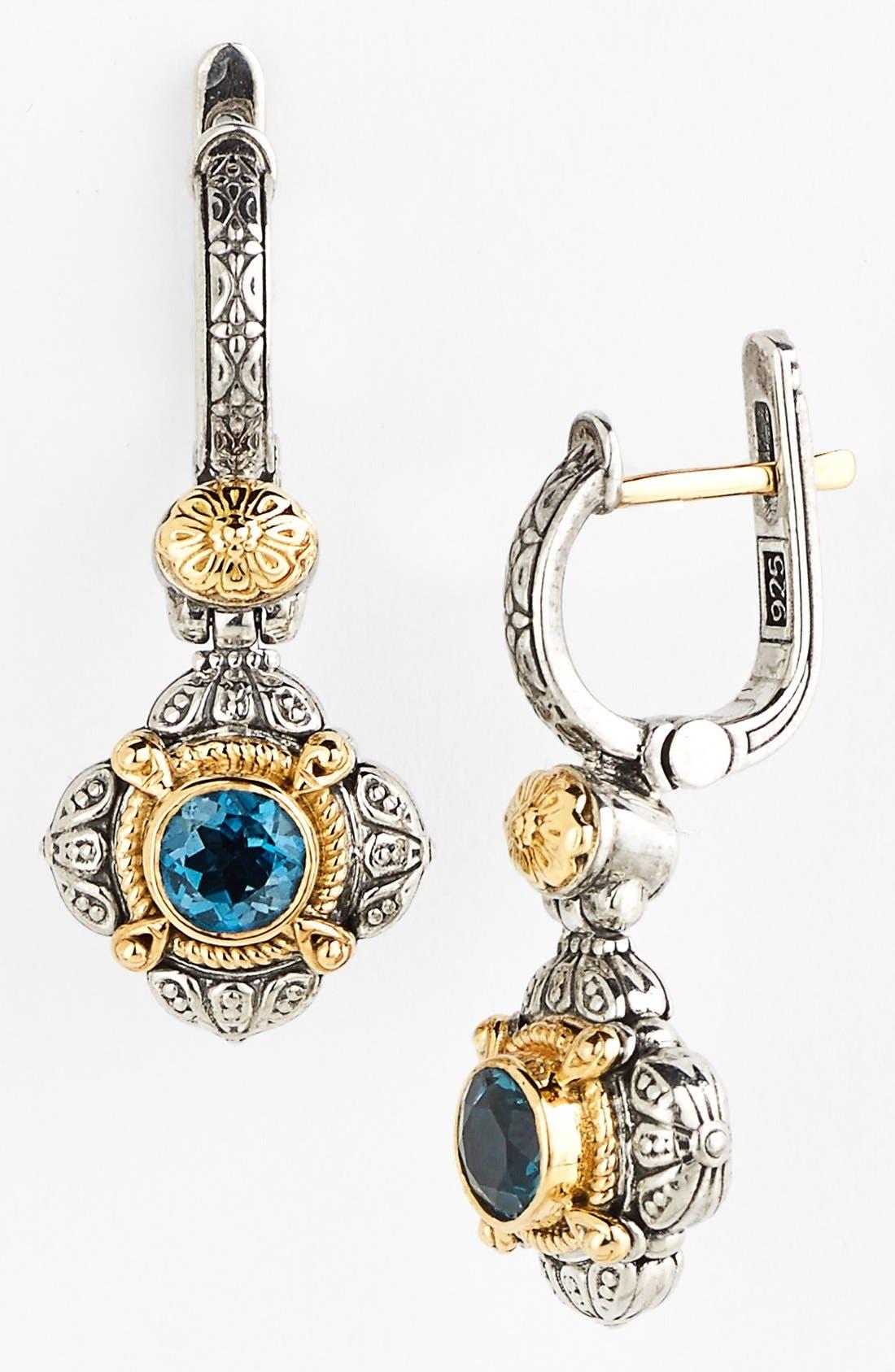 'Hermione' Drop Earrings,                             Main thumbnail 1, color,                             Silver/ Blue Topaz
