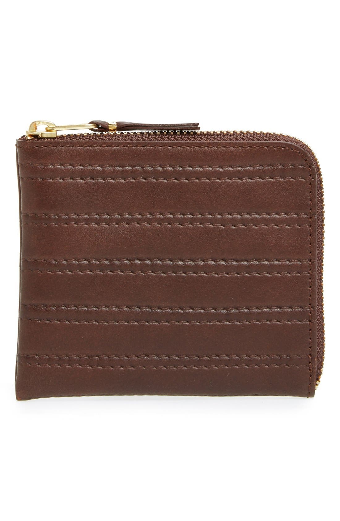Comme des Garçons 'Embossed Stitch' Leather Half Zip French Wallet