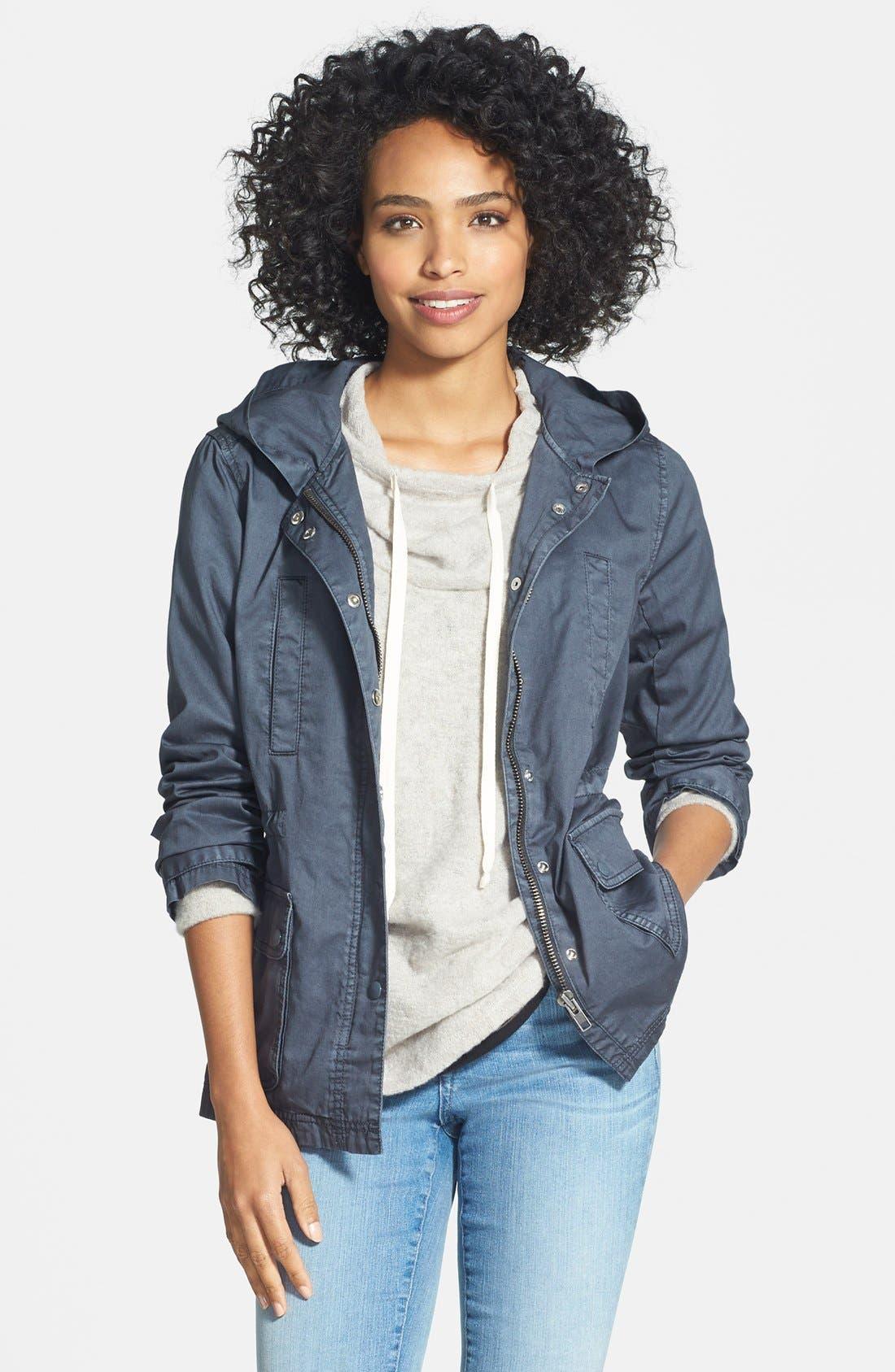Alternate Image 1 Selected - Caslon® Cotton Twill Hooded Jacket (Regular & Petite)