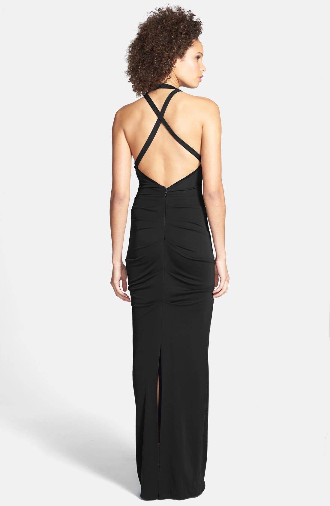 Alternate Image 2  - Nicole Miller Ruched Cross Back Jersey Gown