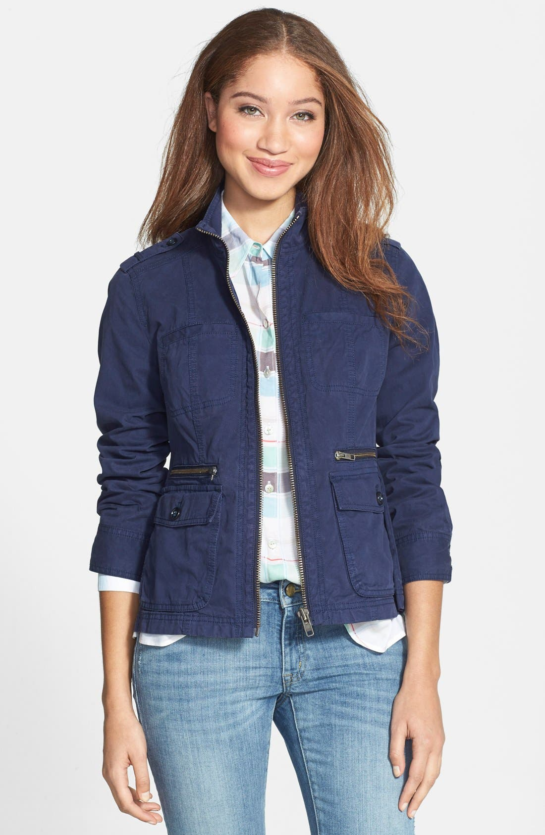 Alternate Image 1 Selected - Caslon® Front Zip Field Jacket (Regular & Petite)